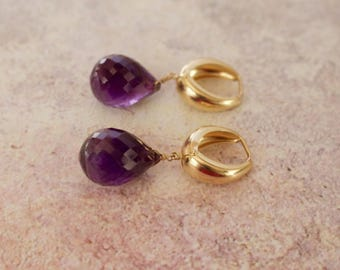 Magnificent Solid 14k Yellow Gold With Genuine 18x14 MM Faceted Teardrop Amethyst Briolettes Earrings.