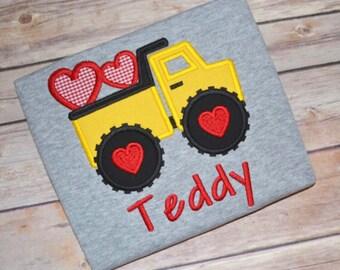 Boy Valentine shirt, Dump truck Valentine's Day shirt, Construction shirt, Valentines Day shirt, monogrammed heart shirt, kids outfit