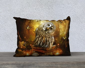 cute fantasy owl art pillow cover