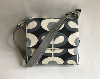 Messenger bag .Orla kiely print messenger , ladies bag,across body ,black and grey bag ,  ,orla Kiely , shoulder bag, across body bag