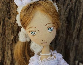 white lolita doll - cloth doll - Art Doll - manga doll