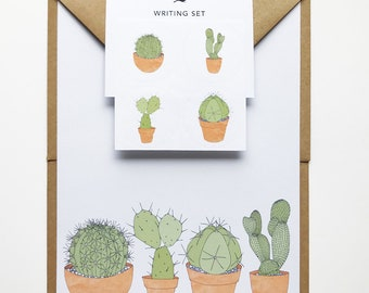 cacti writing set, cactus stationery pack, cactus stickers, recycled eco friendly writing paper, cactus gift, house plant stationery gift