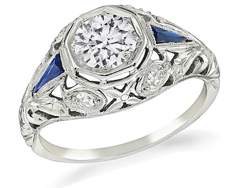 Art Deco 0.75ct Diamond Sapphire Engagement Ring