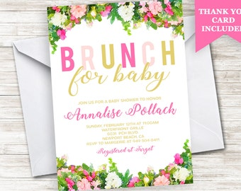 Brunch For BABY Shower Invitation Invite Digital Floral 5x7 Personalized Watercolor Pink