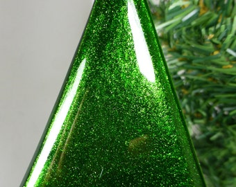 Fused Glass Christmas Tree in Sparkling Green Aventurine Art Glass with a Red base