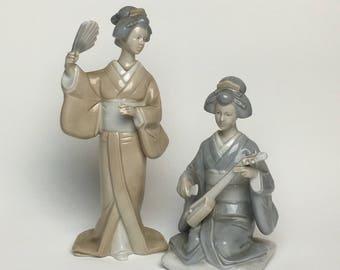 Set of 2 Otagiri Original Porcelain Geisha Ladies Figurines Handcrafted in Japan