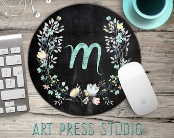 Chalkboard Initial Mousepad, Chalkboard Wreath Mouse Pad, Chalk Monogram and Flowers Mousepad, Boho Chic Mouse Pad