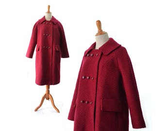 Red Coat, Womens Coat, 1950s Coat, 1960s Coat, Vintage Coat, Womens Coat,  Wool Coat, Winter Coat, Large Coat, Medium