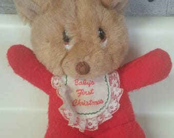 """Applause """"Baby's First Christmas"""" Itty Bitty Reindeer Plush Squeaky Toy/Vintage 1988/6 Inch Plush Toy/Collectible Christmas Toy/Retro Gift"""
