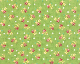 By The HALF YARD - Prairie by Corey Yoder for Moda Fabrics, Pattern #29003-17 Sprigs in Green, Coral, Yellow and Pink Flowers, White Dots