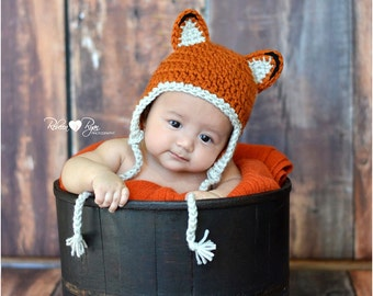Little Fox Baby Hat, Newborn Earflap Beanie