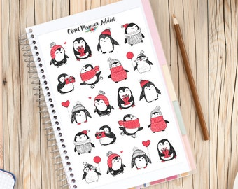 Penguins In Woolly Jumpers Planner Stickers | Cute Penguins | Penguin Stickers | Winter Stickers | Christmas Stickers (S-178)