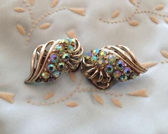 Vintage AB Rhinestone Cluster Clip On Gold Tone Earrings, Bridal Earrings, Aurora Borealis