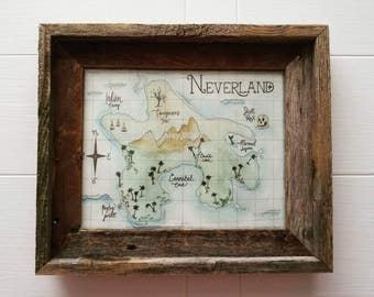 Neverland, 8x10 Art Print, Watercolor and Ink, Peter Pan Nursery, Nursery Decor, Baby Registry, Map Prints, Children's Playroom Artwork