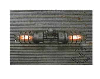 SteamPunk Industrial Vanity Bathroom Heavy Duty Light Lamp Fixture Vintage Vapor Proof Cage Black Iron Man Cave Bar Loft Wall Sconce