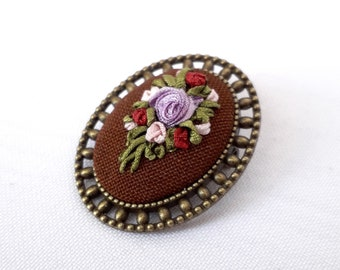 Embroidery miniature flower brooch brown bouquet mother's day gift to mom bright colors flower pattern violet rose bouquet godmother's gift