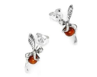 Earrings fairy bell in amber, Earrings in amber of the Baltic on 925 silver, amber jewel, amber jewel