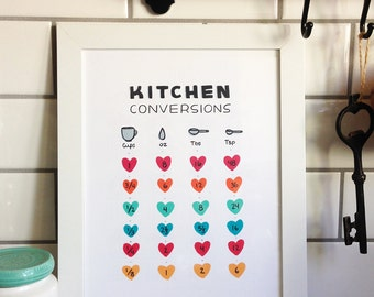 Kitchen Conversions Chart - Art Print - Customizable 5x7, 8x10, 11x14