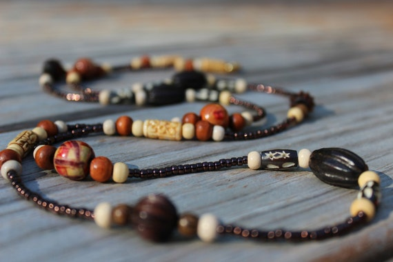 Brown Beaded Necklace, Long Wood Boho Beaded Necklace For Women, Earth Tones