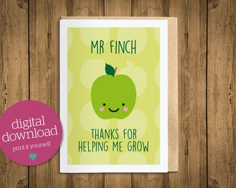 Thank you teacher card, thank you card, personalised teacher card, card for teacher, teacher gift, green, apple for teacher, printable card