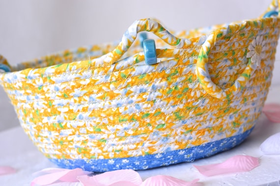 Happy Spring Bowl, Artisan Gift Basket, Handmade Yellow Quilted Fabric Basket, Shabby Chic Yellow Picnic Basket, Mail Bin
