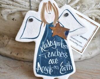 Cute Kindergarten Teacher Gift Salt Dough Angel Ornament Teacher Appreciation Personalized Gift Custom Teacher Gift