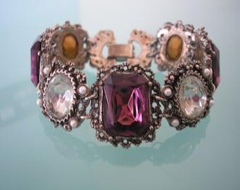 Amethyst Rhinestone Bracelet, Vintage Cuff, Pearl and Rhinestone, 1970's Jewelry, Chunky Bracelet, Purple Wedding, Silver Link, Bridal Cuff