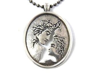 Antique Love couple pendant necklace sterling silver Cut out