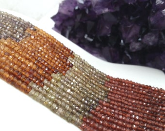 """Multicolor Tundra Garnet Faceted Rondelles AAA Quality 3-4mm, 13.5-14""""L"""