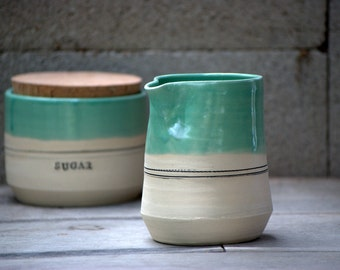 Cream and sugar set - ceramic creamer set - Rustic modern  - unique gift ideas - housewarming gift - hostess gift -