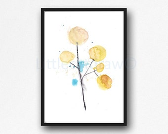 Yellow Flowers Print Minimalist Art Watercolor Painting Art Print Abstract Floral Bedroom Wall Decor Unframed Flower Print