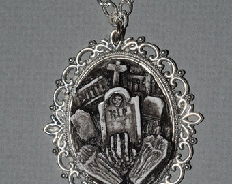 Gothic Gift  Set 2 - Creepy Open Grave Cameo Ring and Cemetery Cameo Necklace Set