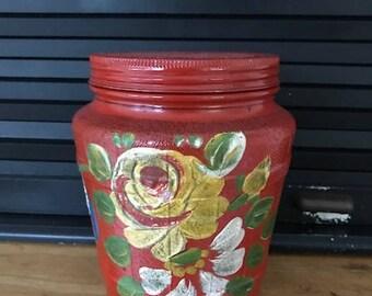Vintage Handpainted Ball Mason Jar with Lid