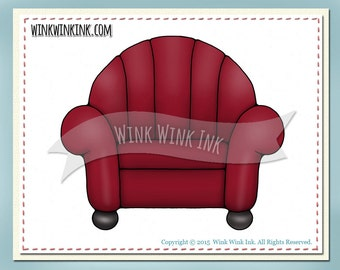 Digital stamp - Comfy Chair - great prop for pet stamps