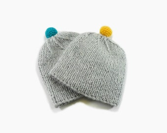 Twin Baby Hats, Hand Knitted Baby Boy Hats - Light Gray, 1 - 2 years