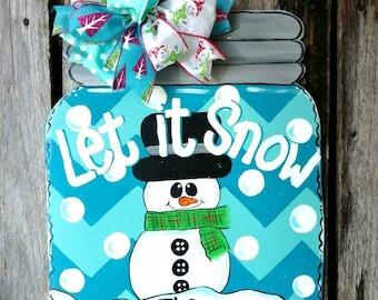 Mason Jar Door Hanger, Mason Jar Snow Globe Door Hanger, Mason jar snowman door hanger