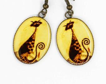 Black cat earrings Boho earrings Animal jewelry Cat lover gift idea Pet gift Women birthday gift for sister gift for girlfriend gift for her