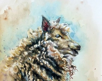 """Original Water Color painting, Sheep , 10""""x8"""" with mat, 1612143"""