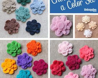 Acrylic Felt Flowers | 12 Forget me nots | Pick a Color Set | DIY | 36 Unassembled Flowers