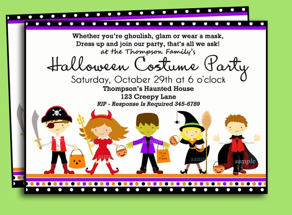 Halloween kids costume party invitation printable or printed like this item stopboris Choice Image