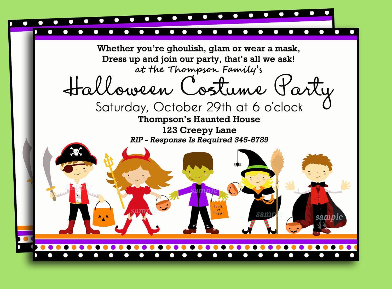 Halloween Kids Costume Party Invitation Printable or Printed