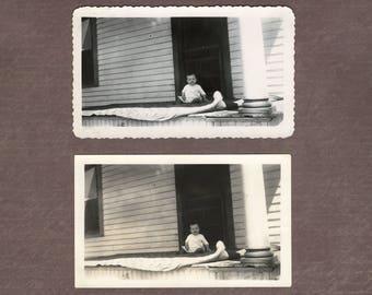 Baby on Porch – Original Vintage Photo – Ephemera Found Vernacular Photography Child – Kodak Velox