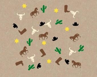 Cowboy Confetti Party Favor, Boy Birthday Decorations, Horse, Cowboy Hat & Boot, Cactus, Sherriff Badge, Horse, Desert Parties, Scrapbook