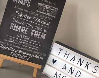 No photos on social media, unplugged wedding sign. Keep snaps under wraps wedding sign A3 A4 Size print