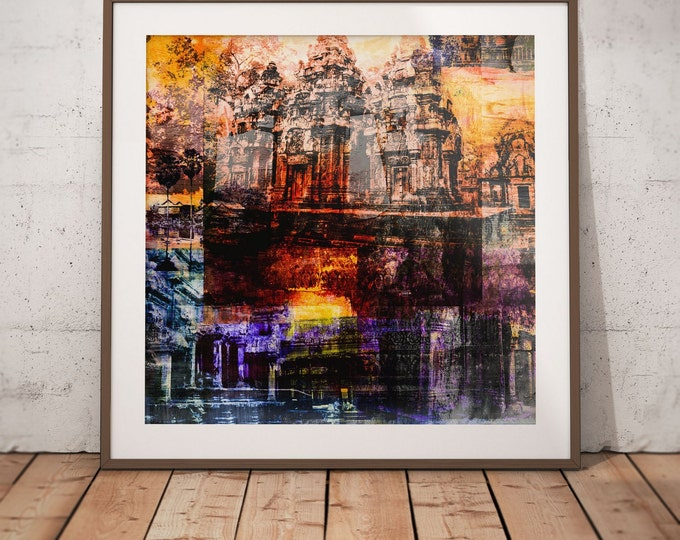 Cambodia Mixed Media XVI by Sven Pfrommer - Artwork is ready to hang with a solid wooden frame