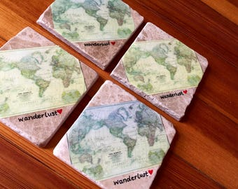 Wanderlust Coasters - World Map Coasters - Father's day gift - World Map - Set of Natural Stone Coasters Wanderlust - Gift for Travel Lover