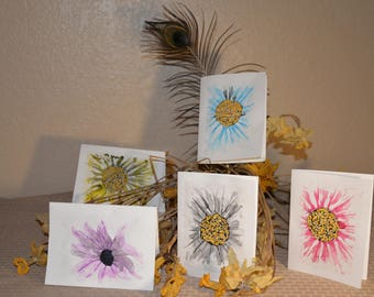 5 Watercolor series #2.  Daisies.  Set of 5 Handmade/painted cards.