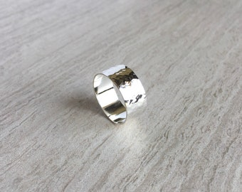 Wide Hammered Silver Ring, Statement Ring, Handmade Sterling Silver Planished Ring, Wide Silver Band