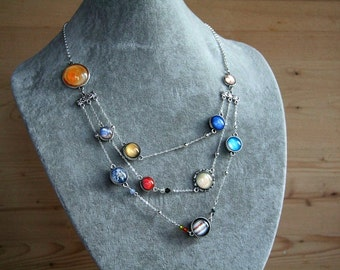 Planet necklace, necklace with planets, solar system necklace, space necklace, planetary jewelry, space jewelry, solar necklace