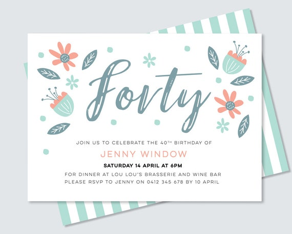 40th birthday party invitation for her hand drawn
